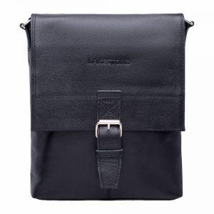 655219e61c75 Кожаная сумка планшет через плечо Lakestone Charles Black мужская черная ...