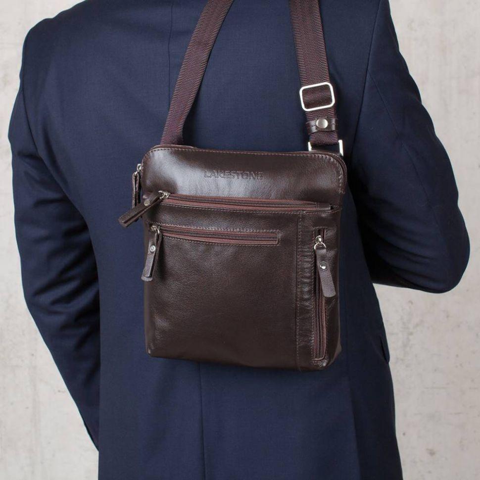 6401c4b0dd86 ... Молодежная сумка через плечо Lakestone Elm Brown мужская кожаная  коричневая ...