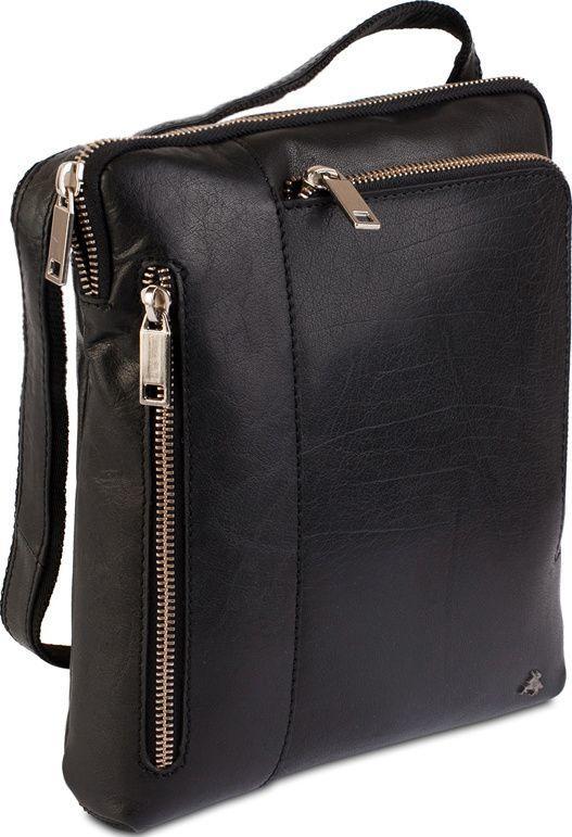 fd2e0da05de Мужская повседневная сумка через плечо Visconti ML20 Roy (M) Black из кожи  черная ...