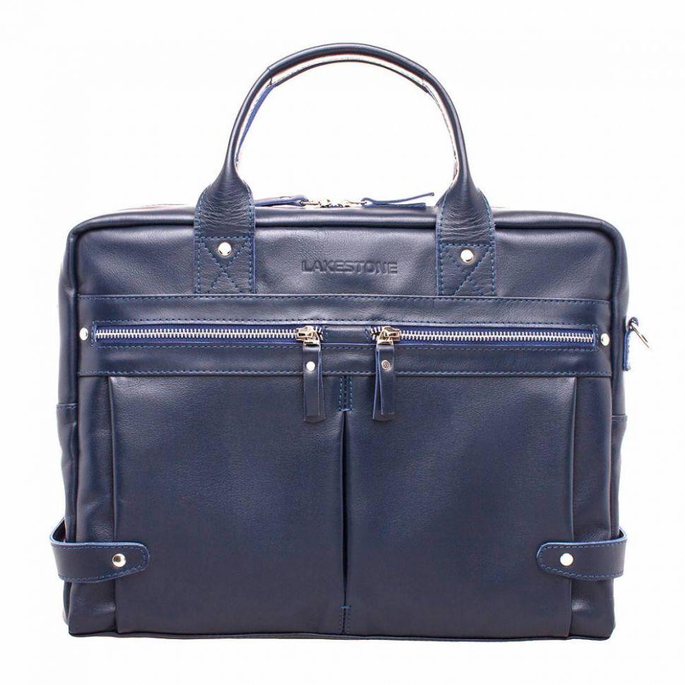 85ca6040349d Классическая сумка-кейс Lakestone Jacob Dark Blue мужская из синей кожи ...