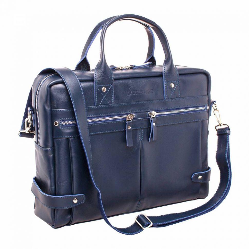a76391f1d254 ... Классическая сумка-кейс Lakestone Jacob Dark Blue мужская из синей кожи  ...